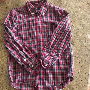 Boys Red Plaid Button Up, Like New, CHAPS size 6